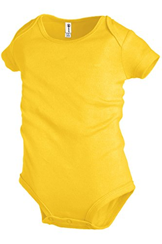 Plain Basic Infant Baby Boys or Girls Creeper / Onesie / Bodysuit / Snapsuit (12 mo., Yellow)
