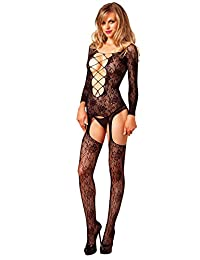 Leg Avenue Women's Floral Lace Long Sleeve Suspender Bodystocking with Deep-V