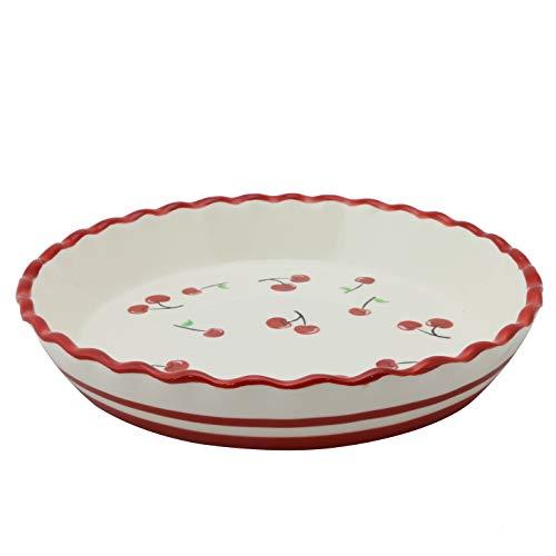 Grace Teaware Hand Painted Glazed Red Cherries, Ruffled Edge, Ceramic Stoneware 10-Inch Pie Dish