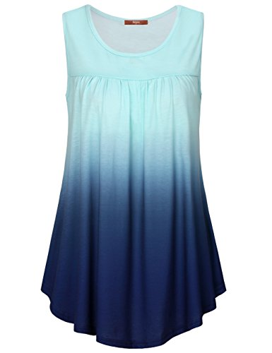 Gaharu Pleated Tops for Women, Casual Petite Scoop Neck Sleeveless Tee Shirts Ombre Drape Comfortable Dressy Mini Tunic Tanks Blue,X-Large