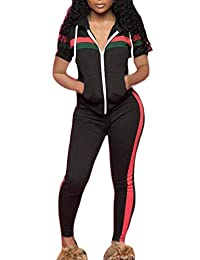 Blyent-CA Women Hoodie 2 Pcs Stripe Zipper Drawstring Gym Workout Tracksuit with Pockets