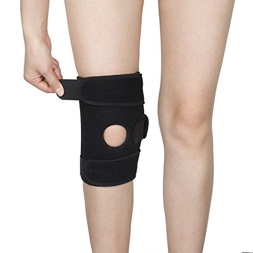 Ynport Knee Brace for Arthritis ACL Meniscus Outdoor Sports Lycra Spring Non-Bulky Best Open Patella Knee Protector Wrap Relieves Pain Symptoms(Black)
