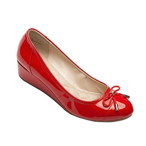 Pic/Pay Trish Women's Pumps - Round Toe Wedge Pump Red Patent PU 9.5M
