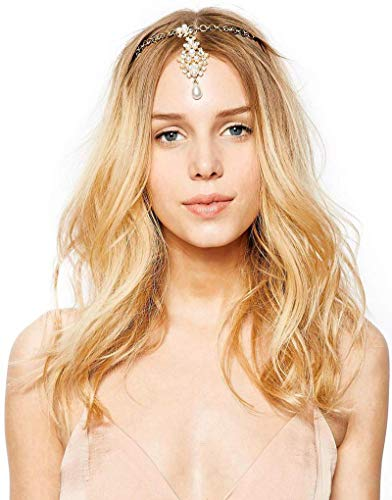 Metme Head Hair Accessories Simulated Pearl Head Chain Forehead Jewelry with Drop Pendent
