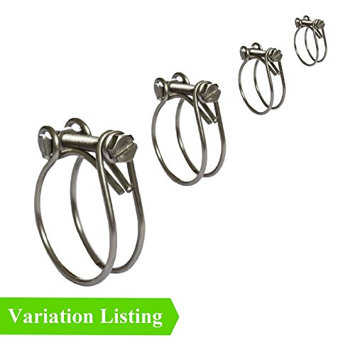 Top 2 x Double Wire Hose Clamps / Two Wire Clips / Radiator Inlet Breather Classic Cars [ 55 - 61mm ] free shipping