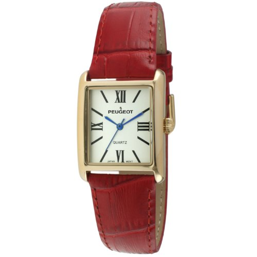 14k Ladies Watch - Peugeot Women's 14K Gold-Plated Tank Roman Numeral Red Leather Band Watch 3036RD