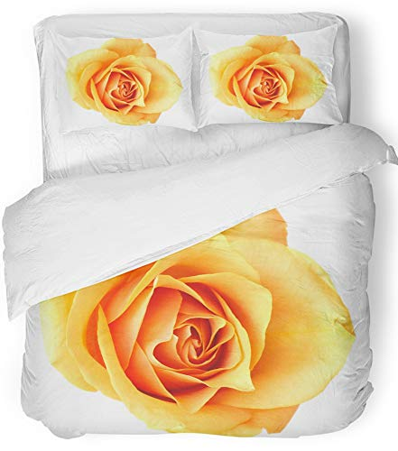 Emvency 3 Piece Duvet Cover Set Breathable Brushed Microfiber Fabric Yellow Anniversary Orange Rose White See More Like It in My Portfolio Birthday Bedding Set with 2 Pillow Covers Twin Size ()