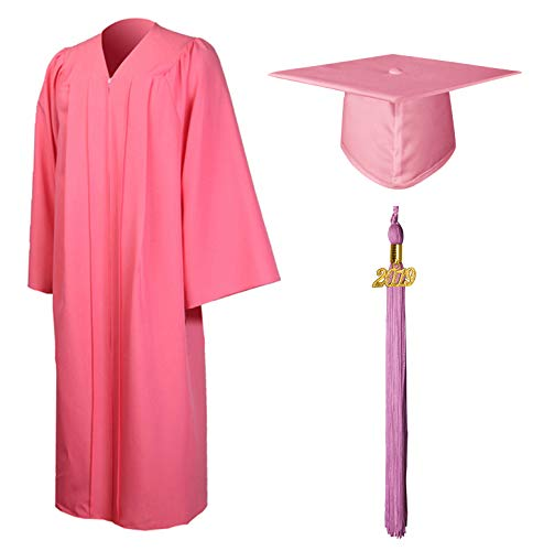 GraduationMall Matte Graduation Gown Cap Tassel Set 2019 for High School and Bachelor Pink 51(5'6