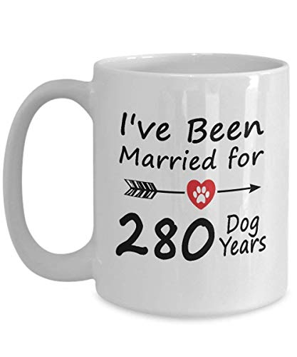 40rd Wedding Anniversary Gifts For Dog Lover Her Him - 40 Years Wedding Marriage Gift Dog Coffee Mug Tea Cup 11 OZ White - Funny 40th Wedding Marriage Anniversary Gift for Wife from Husband