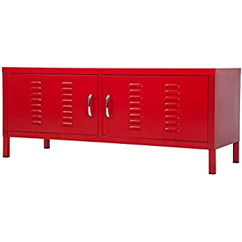 Merax Metal TV Stand Multipurpose Storage Console Sideboard Buffet Table ( Red)