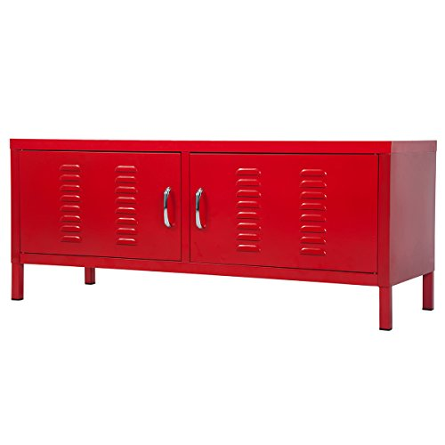 Merax Metal TV Stand Multipurpose Storage Console Sideboard Buffet Table (Red)