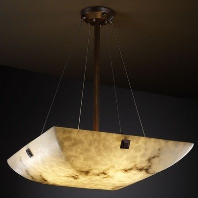 Justice Design Group LumenAria 3-Light Pendant - Matte Black Finish with Faux Alabaster Resin Shade
