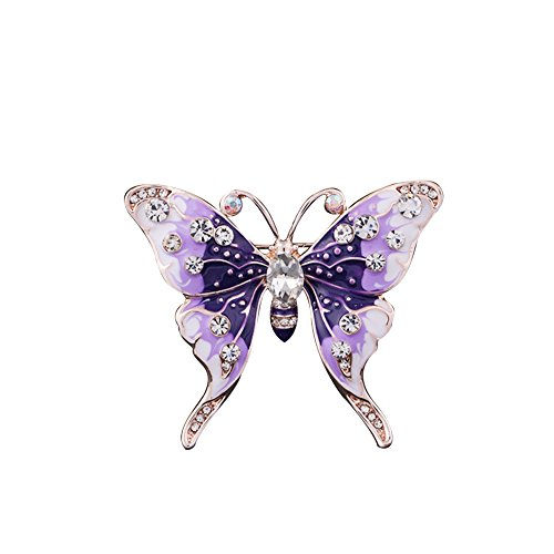 Butterfly Crystal Opal Floral Brooch Pin Classic Multilayer 3D Butterfly Gold Plated Marquise Opal Crystal Rhinestone Brooch Pin Jewelry Purple