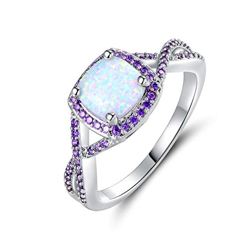 - Barzel White Gold Plated Created Opal & Created Gemstone Ring (Silver with Purple, 8)