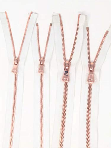 White Glossy Rose Gold Two-Way Separating Zipper in 5MM or 8MM Open - Way Two 8mm