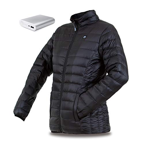 delspring Women's Down Heated Jacket with Battery 12 Hour - Heated Coat, Heated Jacket for Women 800 Down Fill (S) Black