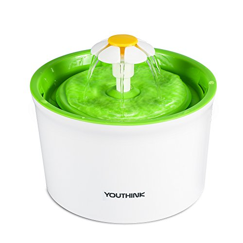 YOUTHINK Cat Water Fountain, 1.6L Auto Circulating Pet Water Fountain, Cat Drinking Fountain for Cats and Small Dogs with Silent Pump, 1 Replacement Filter (Green 1.6L)
