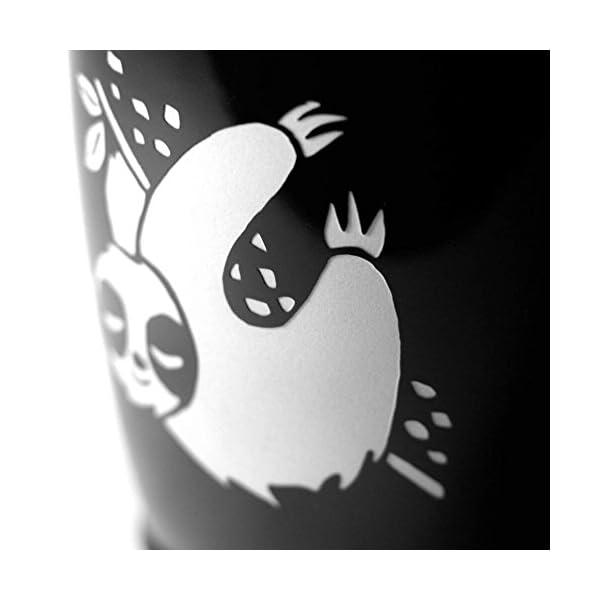 Sloth Coffee Mug - Black - 16 Oz - Microwave-Safe Engraved Stoneware -