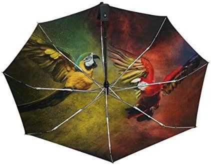 Chovy 折りたたみ傘 軽量 自動開閉 晴雨兼用 レディース 日傘 UVカット 遮光 ワンタッチ メンズ 鸚哥 インコ カラフル クール 個性 かわいい 可愛い 雨傘 傘 晴雨傘 折り畳み 8本骨 遮熱 丈夫 耐風撥水 収納ポーチ付き プレゼント