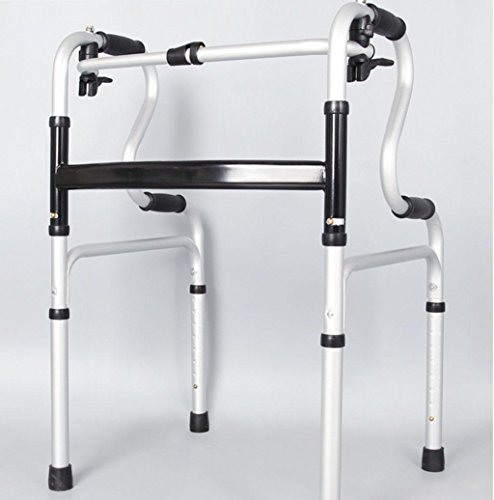 Walker Aluminum Elderly Disabled Double Curved Ladder Four Feet Crutches Deluxe Two Button Folding Walker with by jiaminmin