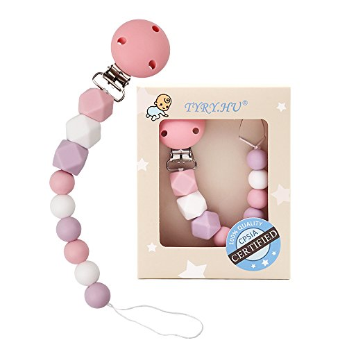 TYRY.HU Baby Pacifier Clips BPA Free Teether Soothie Pacifier Chain Holders Silicone Dummy Clip Chewable Beads Teething Toy