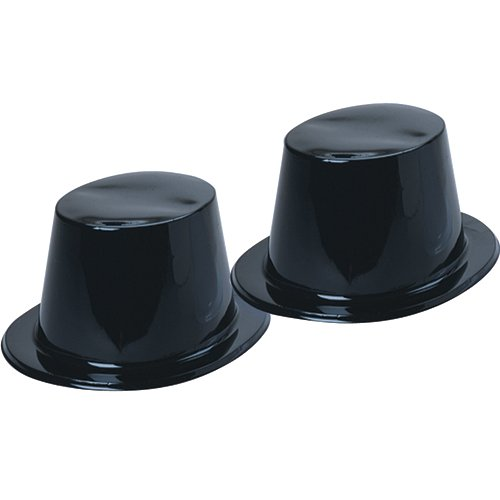 Plastic Top Hats, Pack of 12, Black