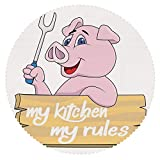 iPrint No Chemical Odor Round Tablecloth [ Kitchen Decor,Pig Chef Holding BBQ Barbeque Fork Tongs Fast Food Mascot Character Grill Wood Menu,Pink White ] Decorative Ideas