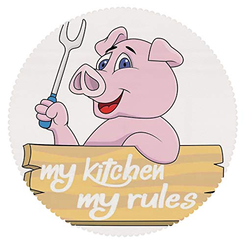 (iPrint No Chemical Odor Round Tablecloth [ Kitchen Decor,Pig Chef Holding BBQ Barbeque Fork Tongs Fast Food Mascot Character Grill Wood Menu,Pink White ] Decorative Ideas)