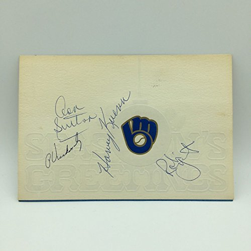 1982 Milwaukee Brewer Team Signed Holiday Card Robin Yount Paul Molitor PSA DNA - 1982 Brewers