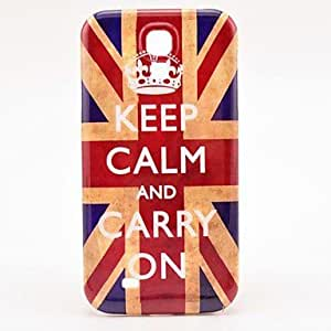 Retro Union Jack Flag Keep Calm and Carry on Pattern Plastic Protective Back Cover for Samsung Galaxy S4 I9500