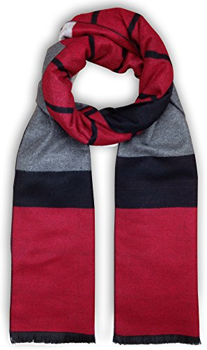 Bleu Nero Luxurious Winter Scarf for Men and Women - Large Selection of Unique Design Scarves - Super Soft Premium Cashmere Feel Red Black Grey Two-sided - Line Nero