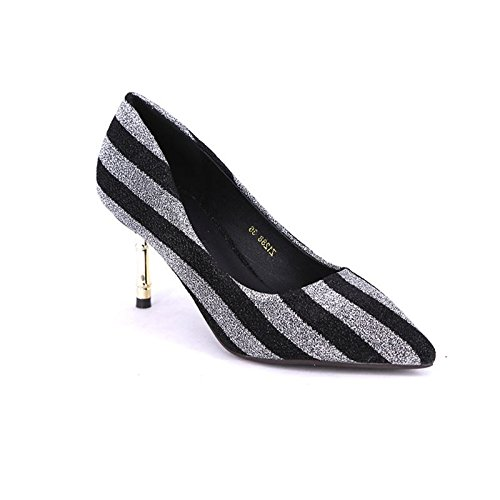7Cm Spring Temperament Point Heels Elegant Match A MDRW Leisure Gold 36 Single Shoes Lady With Fine All Shoes Black Work WqnIv6p