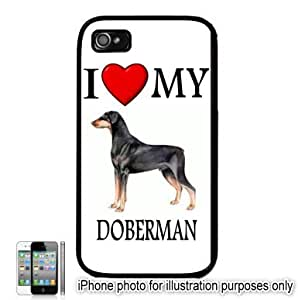 Doberman I Love My Dog Apple iPhone 4 4S Case Cover Black