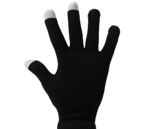 DURAGADGET Small Black Conductive Touch Screen Gloves for BlackBerry 9650 Bold Unlocked GSM Smartphone with 3 MP Camera & BlackBerry Curve 9370 Unlocked Phone ()
