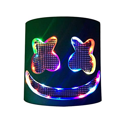 Marshmello DJ Mask Full Head Helmet Halloween Cosplay Costume Accessory Hat Gift Mask Bar Music Props Flash Colorful White