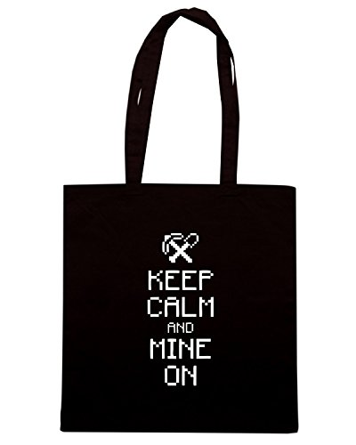 T-Shirtshock - Bolsa para la compra ENJOY0125 Keep calm and Mine On Negro