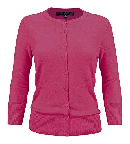 YEMAK Women's 3/4 Sleeve Crewneck Button Down Knit Cardigan Sweater CO079-MGT-3X ()