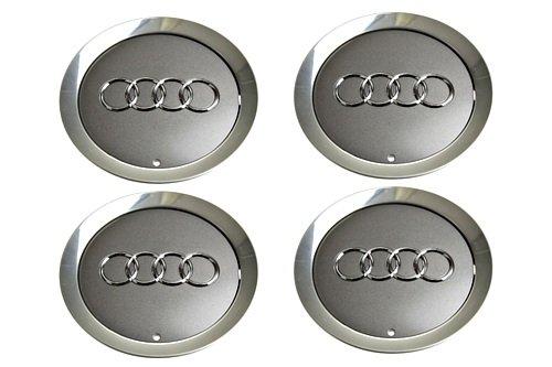 Genuine Wheel Center Hub Caps 4x SET Gray Metallic AUDI A6 A8 D3 2004-2010 (A8 Audi Set)