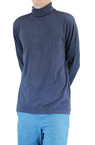 Athletic Cotton Turtleneck - NAVY Men's Combed Cotton Euro Design Ski Casual Turtleneck (X-Large)