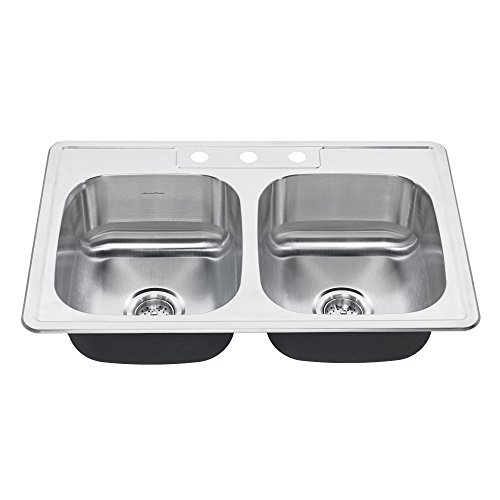 American Standard 20DB.8332283S.075 Colony Top Mount 33x22 Double Bowl Stainless Steel 3-Hole Kitchen (American Standard Double Bowl Sink)