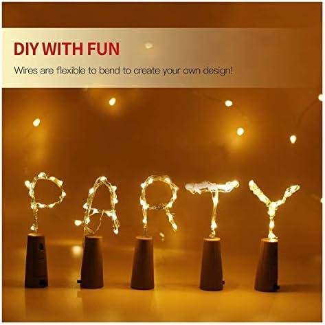 Angeführt Nette Raum-Lampen Weinflasche Cork Lichter String 20 LED Lichterketten Batterieleistung for Partei-Hochzeit Weihnachten Halloween Bar Dekor Flasche Lichter (Emitting Color : Pink)