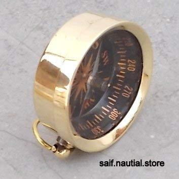 saif.nautical.storeソリッドブラス指向ポケットコンパスハイキング/キャンプ/サバイバルギア。 B07GZNF1GM