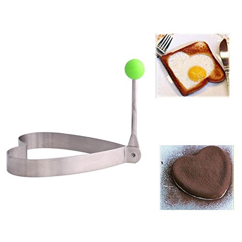 2PCS Omelette Mold Foldable Flower and Heart Shape Stainless Steel Durable Convenient Egg Mold Kitchen Tools