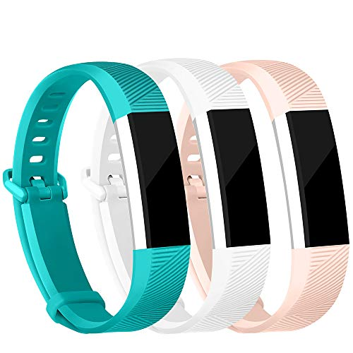 iGK Replacement Bands Compatible for Fitbit Alta and Fitbit Alta HR, Newest Adjustable Sport Strap Smartwatch Fitness Wristbands Pink White Teal Small
