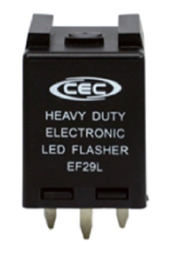 CEC Industries EF29L Electronic Turn Signal Flasher Relay, LED Compatible, 4 Prongs, 12 Volts