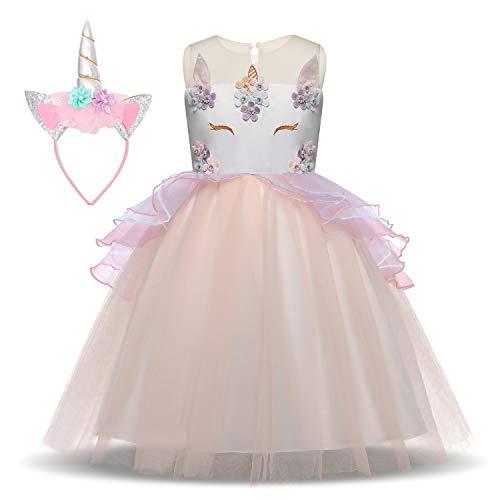 Unicorn Costume for Girls Dress Up Clothes for Little Girls Rainbow Unicorn Tutu with Headband Birthday Gift -