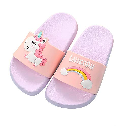Toddler Little Kids Unicorn Shower Pool Slide Sandals Non-Slip Summer Slippers Lightweight Beach Pool Water Shoes for Girls and Boys (8.3inth 21cm, Purple) -