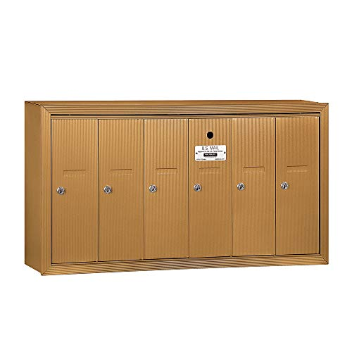 Family Mailbox - Salsbury Industries 3506BSU Surface Mounted Vertical Mailbox with USPS Access and 6 Doors, Brass