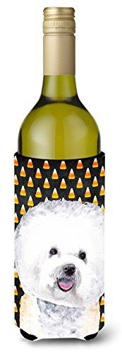 Bichon Frise Candy Corn Halloween Portrait Wine Bottle Beverage Insulator Beverage Insulator Hugger
