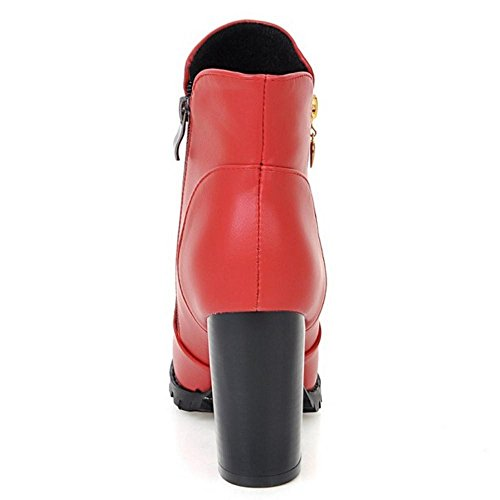 Women Trendy Biker Red Boots COOLCEPT 1 dqSYZ8xZw
